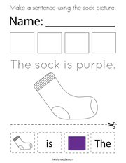 Make a sentence using the sock picture Coloring Page