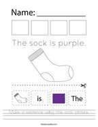 Make a sentence using the sock picture Handwriting Sheet