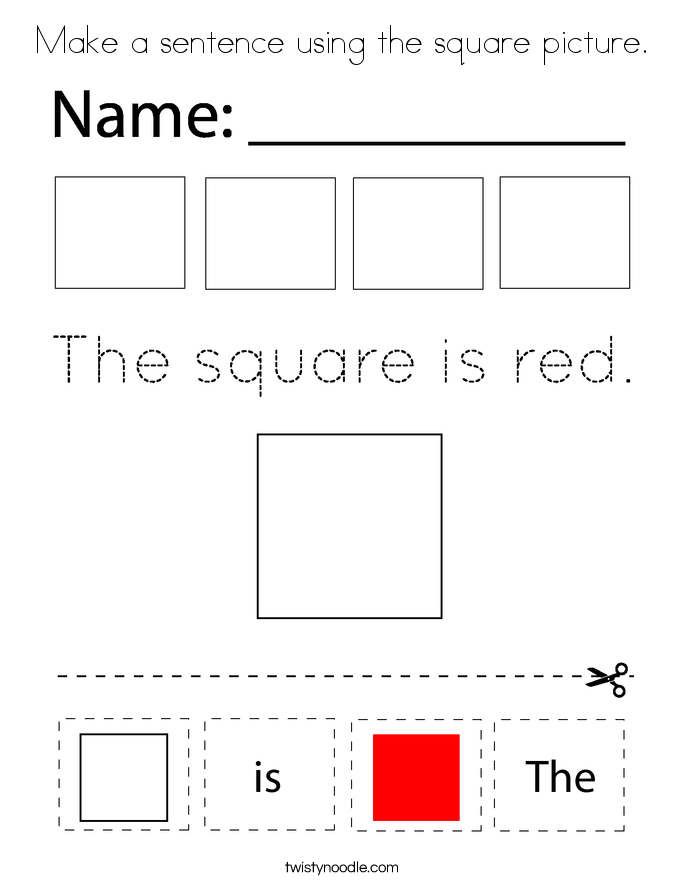 Make a sentence using the square picture. Coloring Page