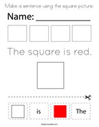 Make a sentence using the square picture Coloring Page