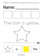 Make a sentence using the star picture Coloring Page