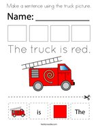 Make a sentence using the truck picture Coloring Page