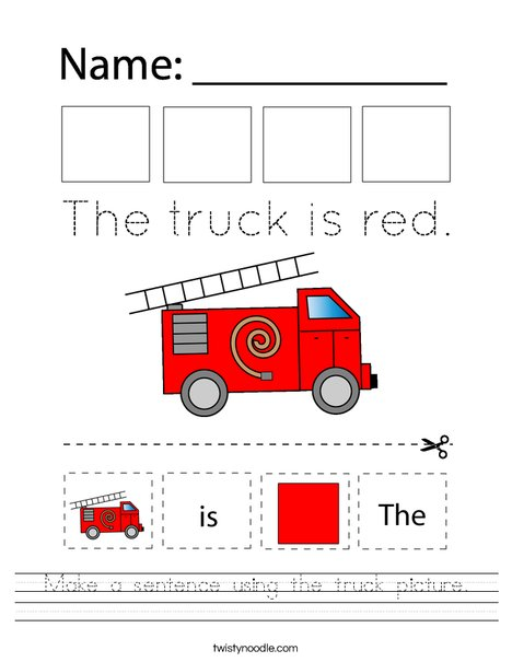 Make a sentence using the truck picture. Worksheet