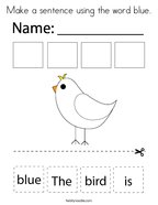 Make a sentence using the word blue Coloring Page