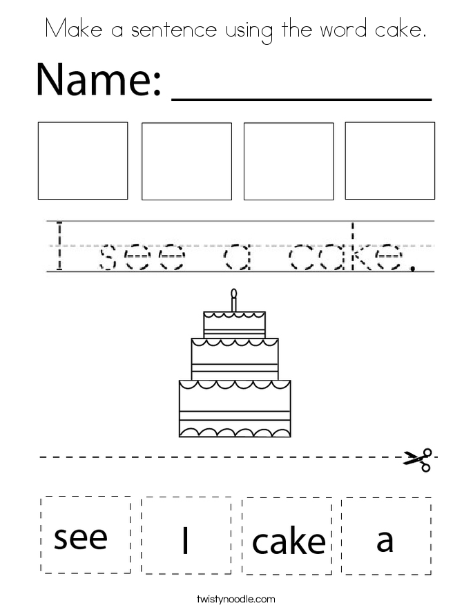 Make a sentence using the word cake. Coloring Page
