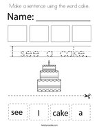 Make a sentence using the word cake Coloring Page
