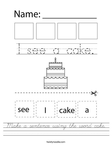 Make a sentence using the word cake. Worksheet