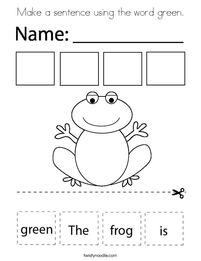 Make a sentence using the word green. Coloring Page