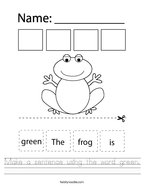 Make a sentence using the word green Handwriting Sheet