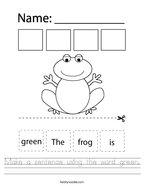 Make a sentence using the word green Handwriting Sheet