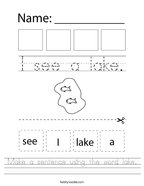 Make a sentence using the word lake Handwriting Sheet