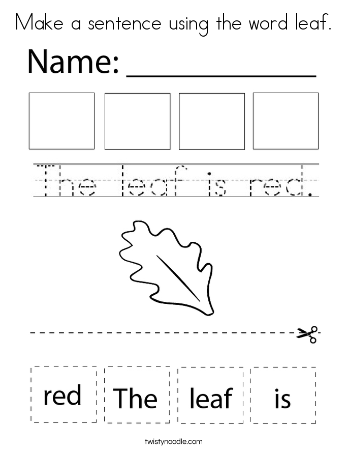 Make a sentence using the word leaf. Coloring Page