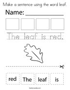Make a sentence using the word leaf Coloring Page