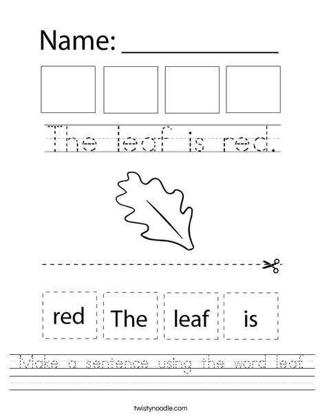 Make a sentence using the word leaf. Worksheet