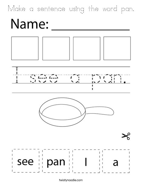 Make a sentence using the word pan. Coloring Page
