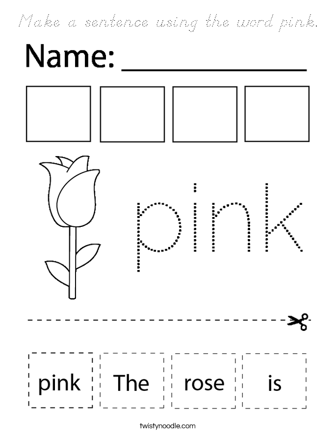 Make a sentence using the word pink. Coloring Page