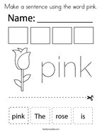 Make a sentence using the word pink Coloring Page