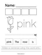 Make a sentence using the word pink Handwriting Sheet