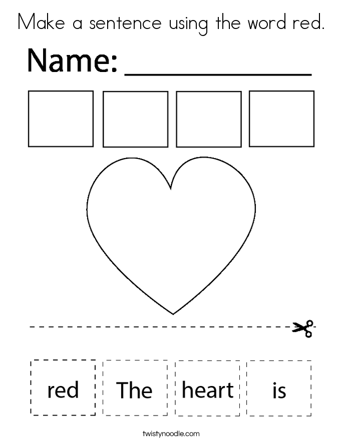 Make a sentence using the word red. Coloring Page