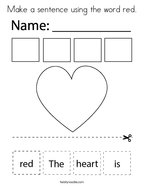Make a sentence using the word red Coloring Page