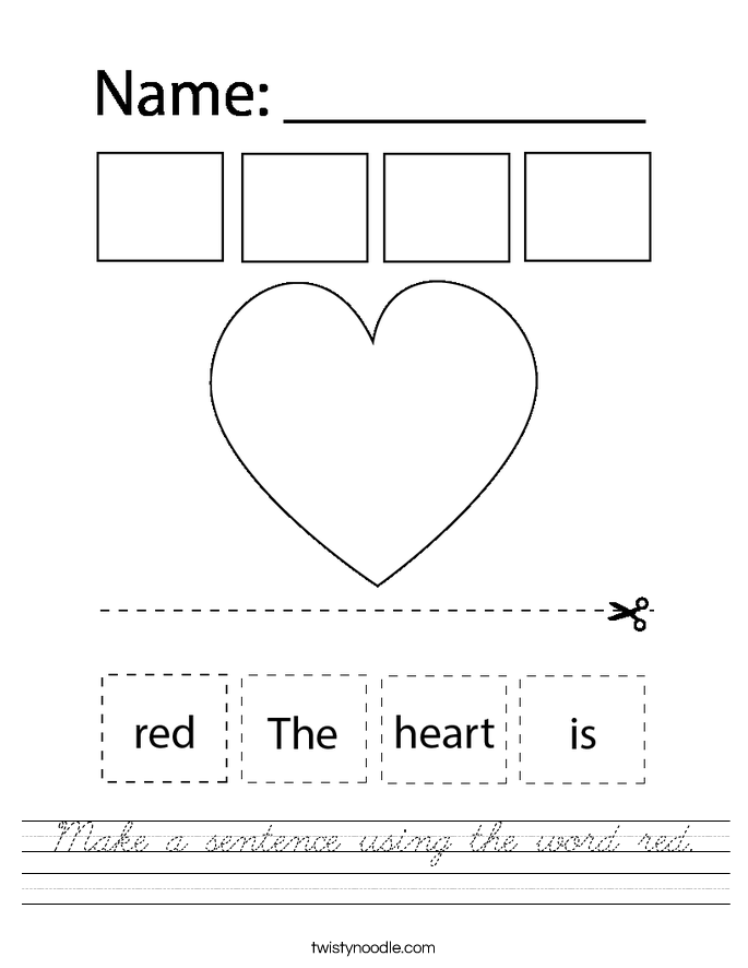 Make a sentence using the word red. Worksheet