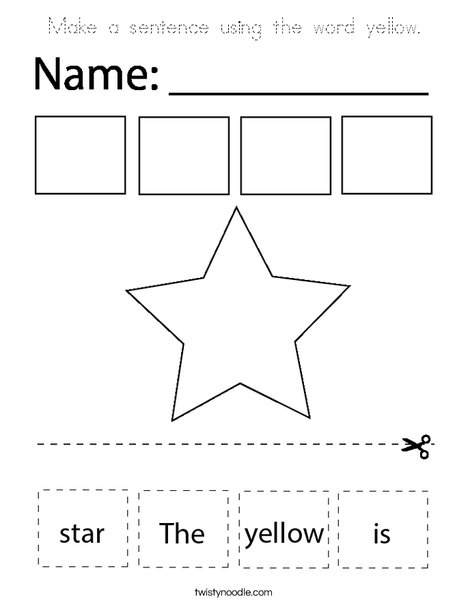 Make a sentence using the word yellow. Coloring Page