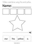 Make a sentence using the word yellow Coloring Page