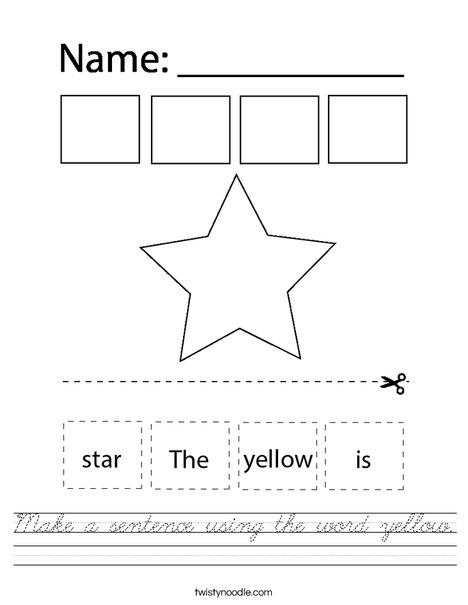 Make a sentence using the word yellow. Worksheet