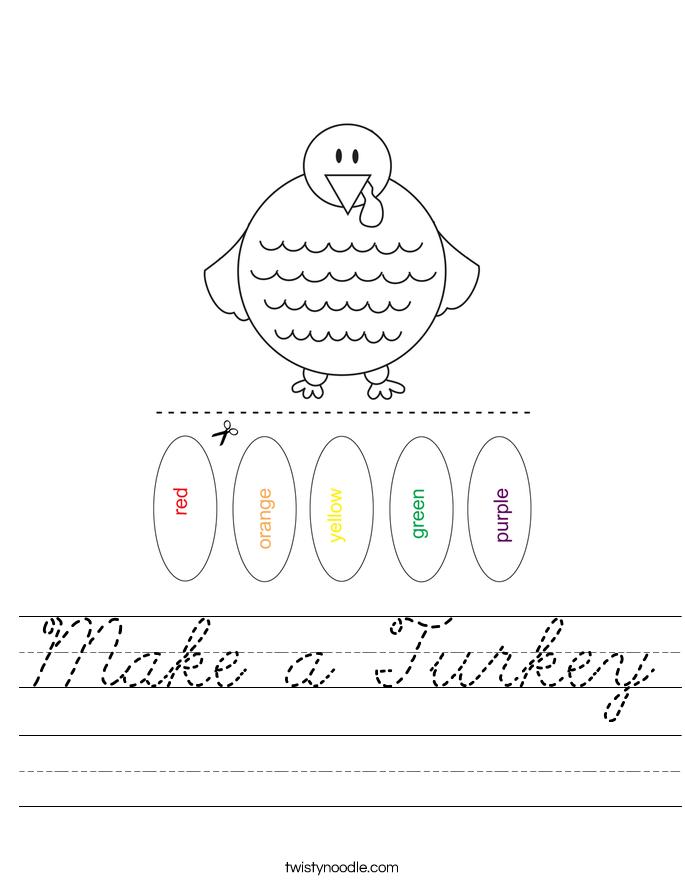 Make a Turkey Worksheet