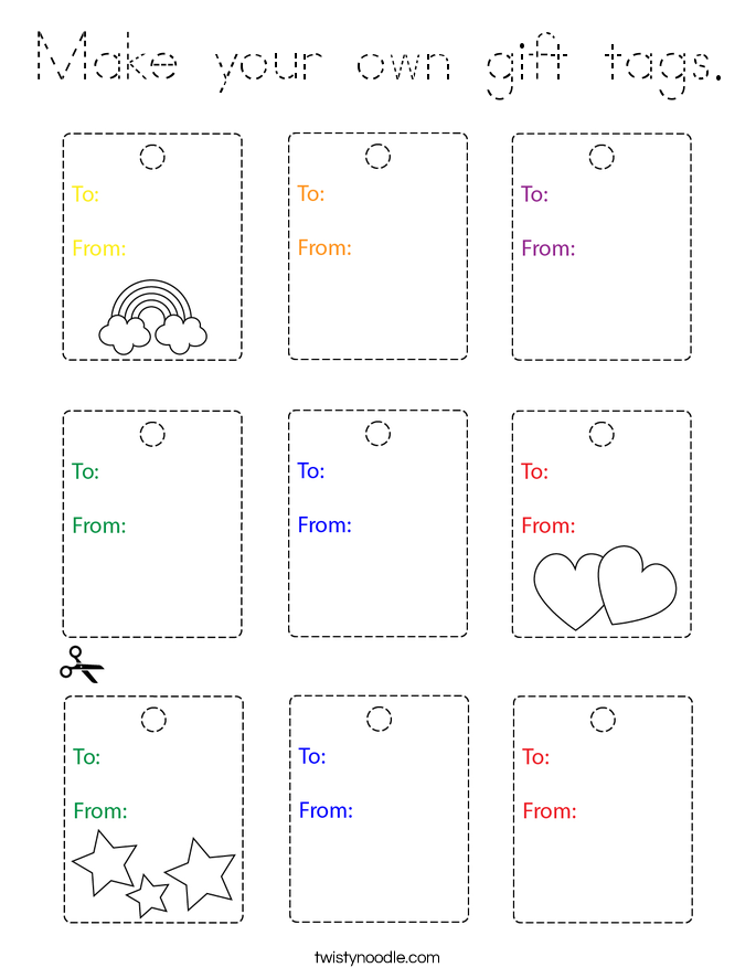 Make your own gift tags. Coloring Page