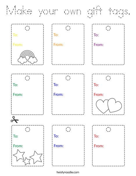 Make your own gift tags Coloring Page