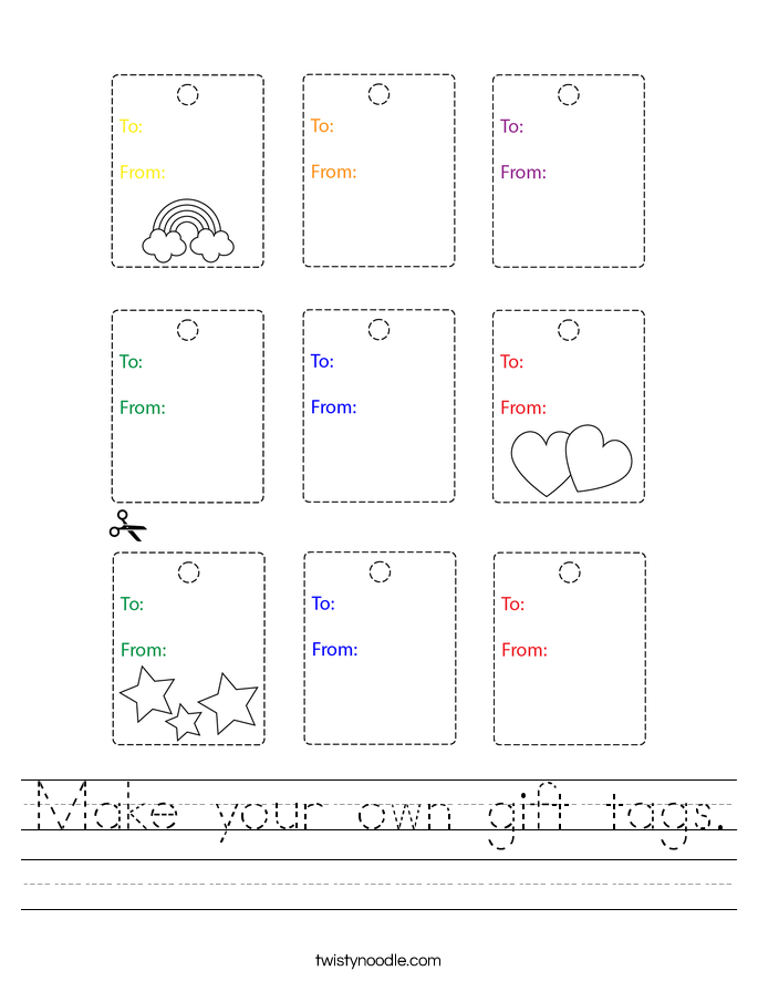 Make your own gift tags. Worksheet