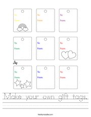 Make your own gift tags Handwriting Sheet