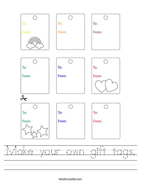 Make your own gift tags Worksheet