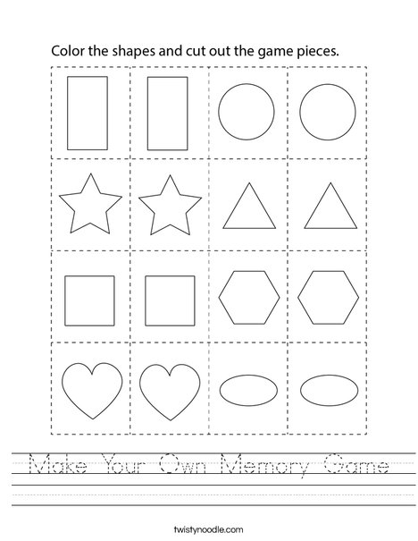 Make Your Own Memory Game Worksheet