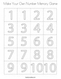 Make Your Own Number Memory Game Coloring Page