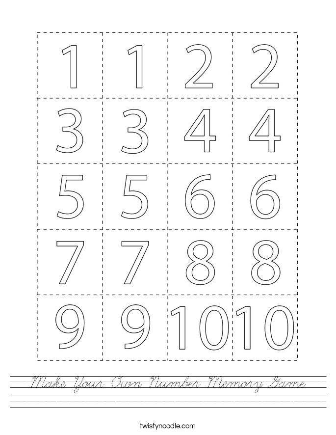 Make Your Own Number Memory Game Worksheet - Cursive ...