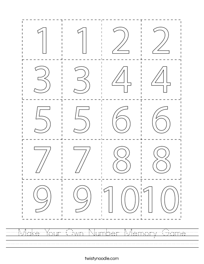 Make Your Own Number Memory Game Worksheet