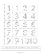 Make Your Own Number Memory Game Handwriting Sheet