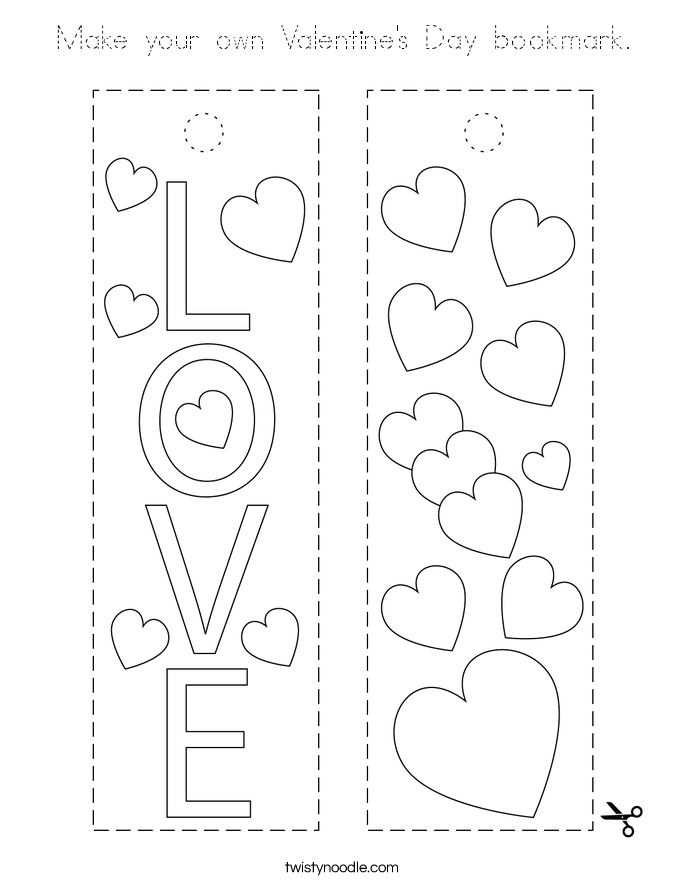 Make your own Valentine's Day bookmark. Coloring Page