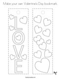 Make your own Valentine's Day bookmark Coloring Page