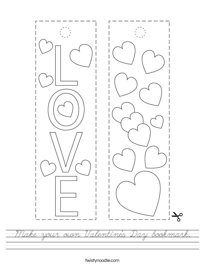 Make your own Valentine's Day bookmark. Worksheet