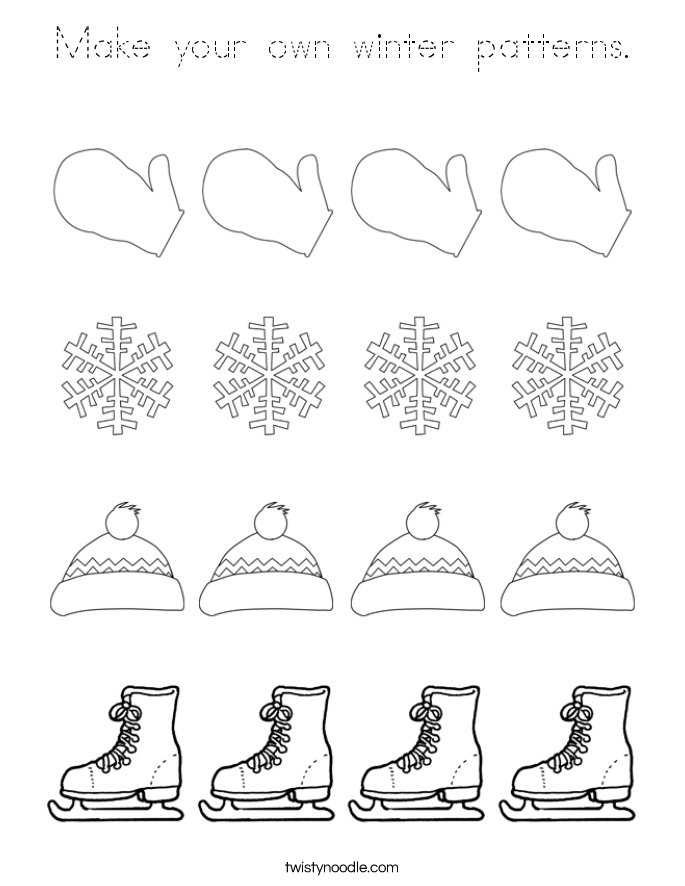 Make your own winter patterns. Coloring Page