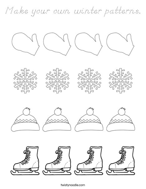 Make your own winter pattern. Coloring Page