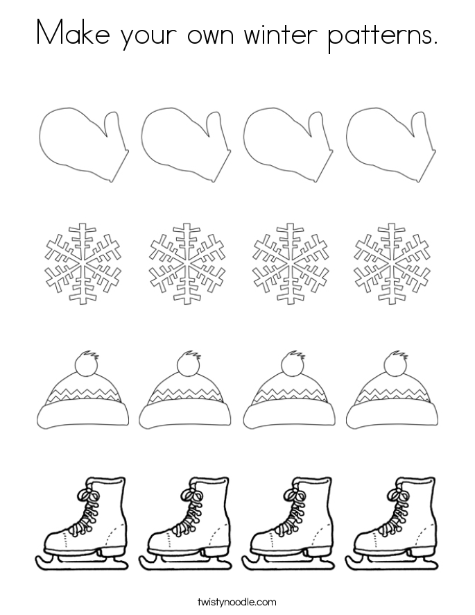 Winter Patterns Coloring Page Twisty Noodle