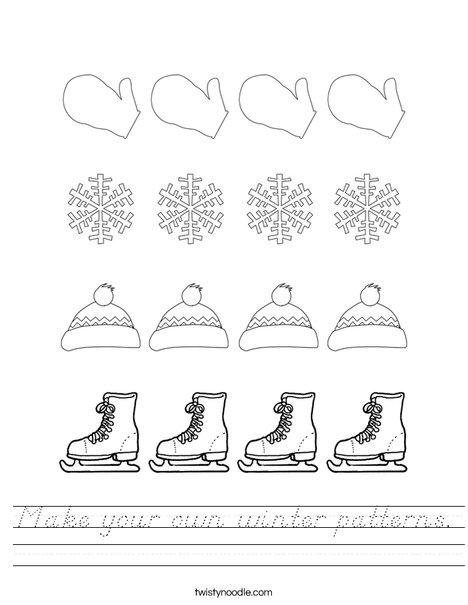 Make your own winter pattern. Worksheet