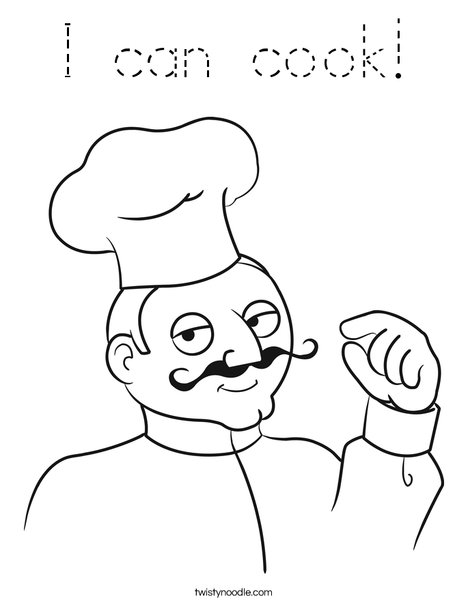 Male Chef Coloring Page