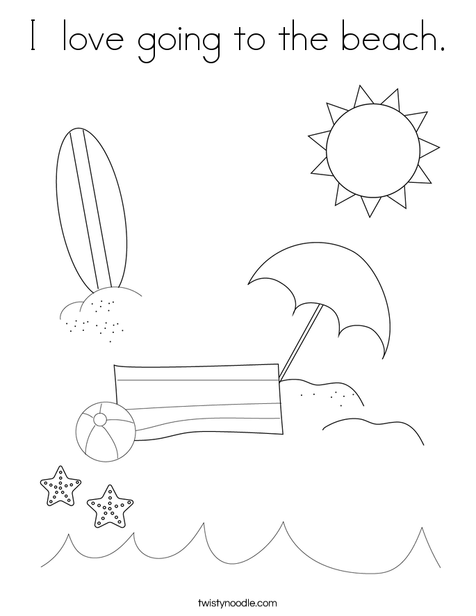 I  love going to the beach. Coloring Page