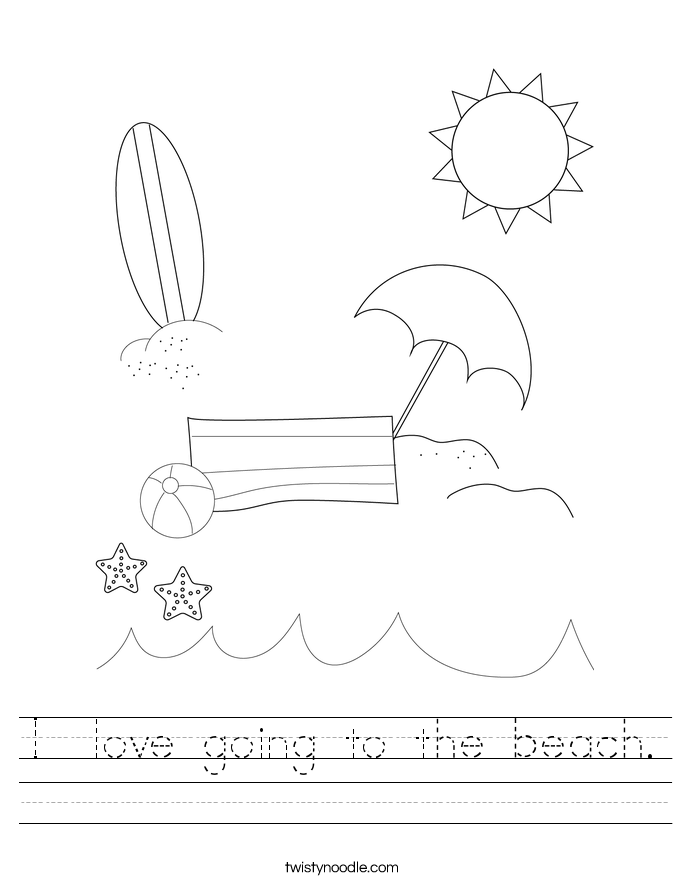 I  love going to the beach. Worksheet