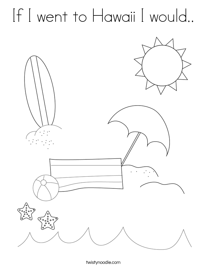 If I went to Hawaii I would.. Coloring Page